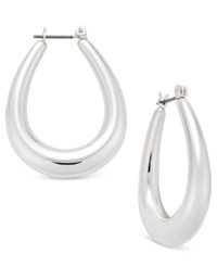 Charter Club Silver Tone Wide Oval Hoop Earrings Only At Macy's