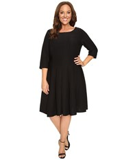 Christin Michaels Plus Size Andrea 3 4 Sleeve Fit And Flare Dress Black Women's Dress