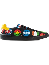 Moschino Flag Smiley Print Sneakers Black
