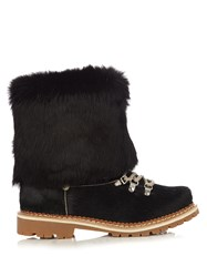 Montelliana 600 Fur Trimmed Calf Hair Apres Ski Boots Black