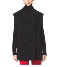 Michael Kors Sleeveless Wool Melton Peacoat Black