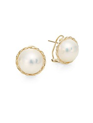 Saks Fifth Avenue 13 13.5Mm White South Sea Mabe Pearl And 14K Yellow Gold Button Earrings Gold Pearl