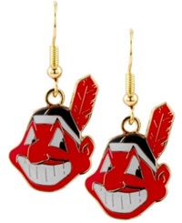 Aminco Cleveland Indians Logo Drop Earrings Team Color