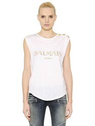 Balmain Logo Printed Cotton T Shirt