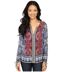 Lucky Brand Long Sleeve Top With Border Print Multi Women's Clothing