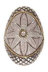 Andrea Candela Diamond Floral Filigree Antique Oversize Ring 0.12 Ctw White