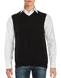 Black Brown Merino Wool Sweater Vest Black