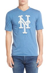 Men's Red Jacket 'New York Mets Calumet' Graphic V Neck T Shirt