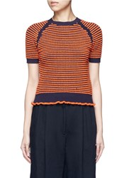 3.1 Phillip Lim Polka Dot Boucle Ruffle Knit Top Orange Multi Colour