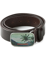 Dsquared2 Palm Tree Buckle Belt Brown