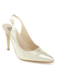 Daniel Melbon Metallic High Slingback Court Shoes Gold Metallic