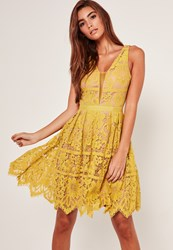 Missguided Midi Lace Skater Dress Yellow Chartreuse