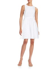 Calvin Klein Dotted Fit And Flare Dress White