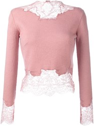 Ermanno Scervino Lace Detail Crop Top Pink And Purple