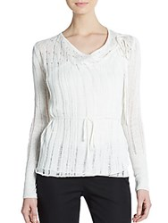 Tess Giberson Linen Knit Drawstring Top White