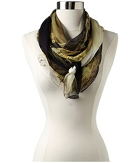 Uurmi Sitapur Beach Chiffon Grey Yellow Multi Scarves