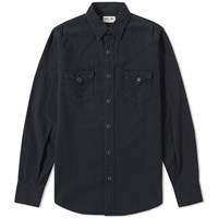 Saint Laurent Distressed Western Shirt Black