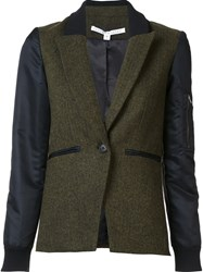 Veronica Beard One Button Blazer Green