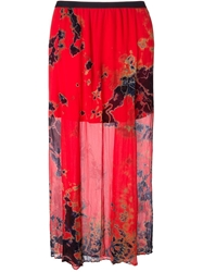 Raquel Allegra Long Tie Dye Skirt Red