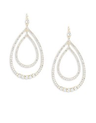 Trina Turk Faceted Crystal Pave Double Teardrop Earrings Gold