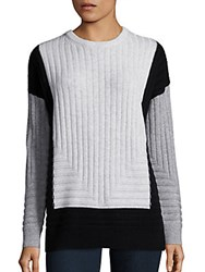 Vince Wool And Cashmere Blend Colorblock Sweater White Multi