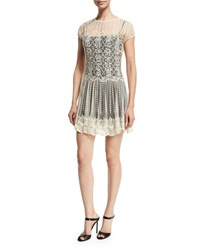 Red Valentino Basket And Floral Embroidered Dress Women's Size 42 4 Ivory