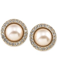 Carolee Gold Tone Pave And Imitation Pink Pearl Button Earrings