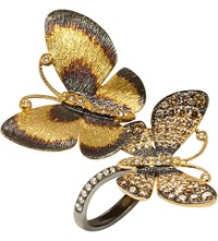 Annoushka Butterfly 18Ct Gold And Brown Diamond Ring