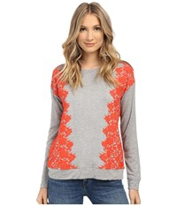 Kensie Lace Print Sweatshirt Ks1k3893 Heather Grey Combo Hge Women's Sweatshirt Gray