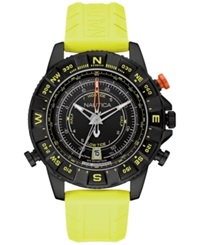 Nautica Men's Tide Compass Yellow Rubber Strap Watch 46Mm Nad21000g