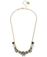 Betsey Johnson Gold Tone Blue Crystal Floral Statement Necklace