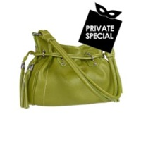 Buti Green Tassel Drawstring Pebble Leather Satchel Bag