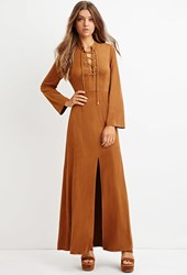 Forever 21 Faux Suede Maxi Dress Tan