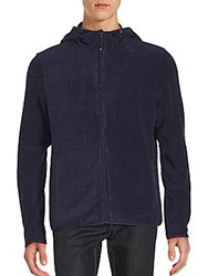 Saks Fifth Avenue Black Hooded Fleece Utility Jacket Caviar