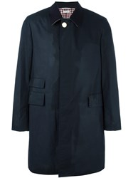 Thom Browne Buttoned Raincoat Blue