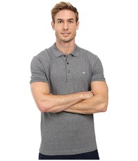 Lacoste Stretch Petit Piqu Slim Fit Polo Navy Blue Mouline Men's Short Sleeve Pullover Gray