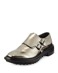 Lanvin Shiny Double Monk Strap Shoe Gunmetal Grey Men's Size 41Eu 8Us