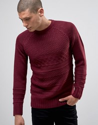Another Influence Cable Knit Jumper Red