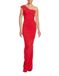 Nicole Bakti Ruffled One Shoulder Gown Red