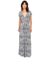 Tart Cleo Maxi Stamped Feathers Women's Dress Gray