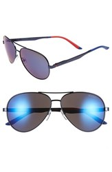 Men's Carrera Eyewear 59Mm Metal Aviator Sunglasses Matte Blue Grey Blue Mirror