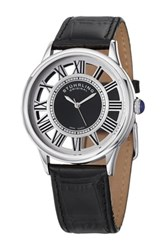 Stuhrling Men's Symphony Alligator Embossed Leather Strap Watch Metallic