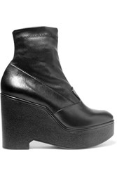 Robert Clergerie Bilou Leather Wedge Ankle Boots Black