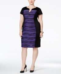 Connected Plus Size Striped Colorblocked Sheath Dress Purple