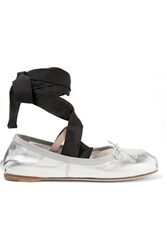 Miu Miu Lace Up Grosgrain Trimmed Metallic Leather Ballet Flats Silver