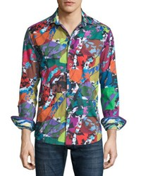 Robert Graham Cholla Cactus Printed Long Sleeve Sport Shirt Multi