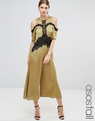 Asos Tall Jumpsuit With Cold Shoulder And Lace Detail Olive Green