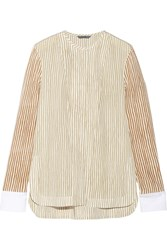 Maiyet Cotton Trimmed Striped Silk Blouse White