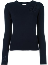 See By Chloe Cut Out Flower Jumper Blue
