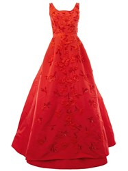 Oscar De La Renta Flower Embellished Dress Red